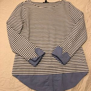 J Crew Navy blue and cream striped blouse
